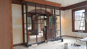 Custom iron sash bay window