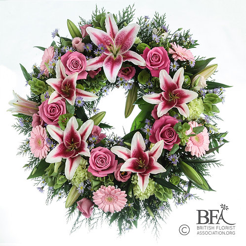 Classic Wreath in White and Pink