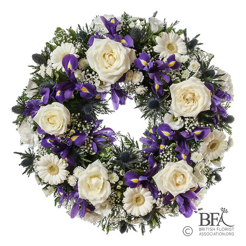 Classic Wreath in Blue, Purple and White
