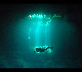 Scuba diving the Pit, one of the most famous cenote dives of the Riviera Maya