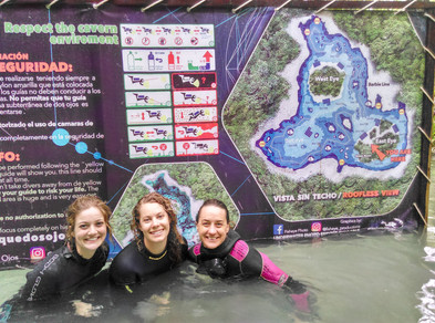 Scuba diving in Casa Cenote, near Tulum, with the Get Wet girls!