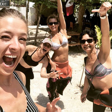 Scuba diving women having fun in the caves in Mexico.