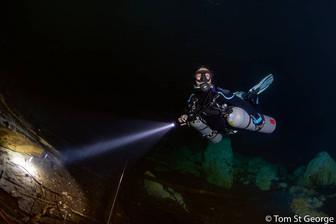 Cenote diving in Arco Iris, south of Tulum.