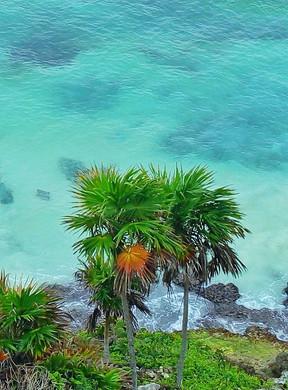 Beautiful turquoise waters of the Riviera Maya