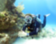 A scuba diver who got her scuba certification in Playa del Carmen