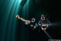Scuba diving in cenote Angelita, one of the best cenotes dives in the Mexico