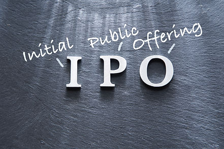IPO abbreviation by wood letters on wood