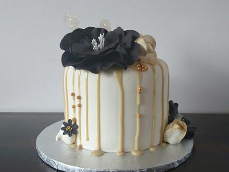 Black White and Gold Drip Cake