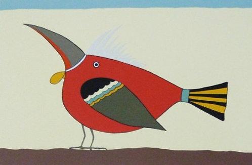 Pássaro Vermelho Serigrafia 33x40 cm