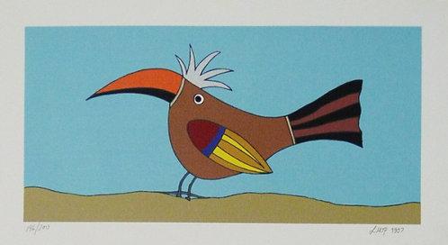 Pássaro Marron Serigrafia 20x35 cm