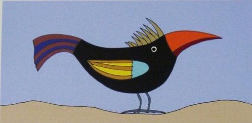 Pássaro Preto Serigrafia 20x35 cm