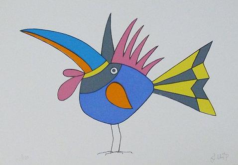 Pássaro Espeto Serigrafia 22x30 cm
