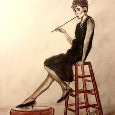 """""""Audrey"""", Zeichnung, Bleistift, Pastellkreide, Acryl"""