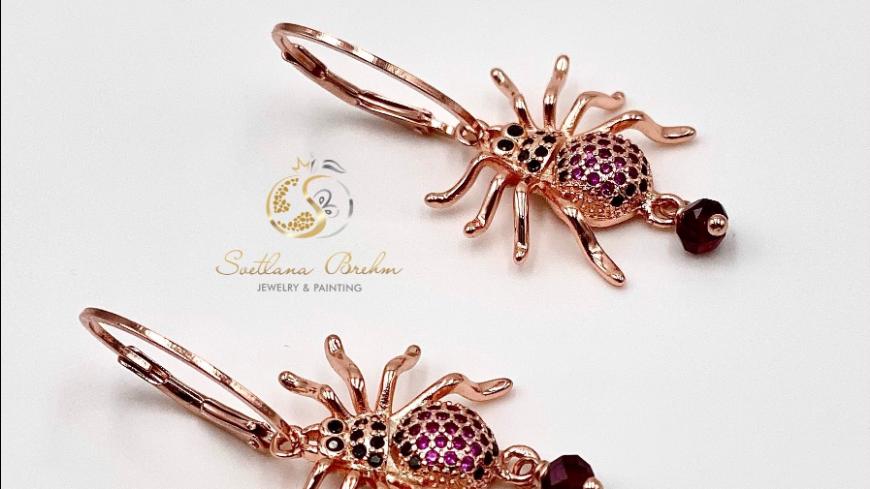 """""""Spinne"""" Ohrringe mit natürlichen Granatedelsteinen, handgefertigt"""