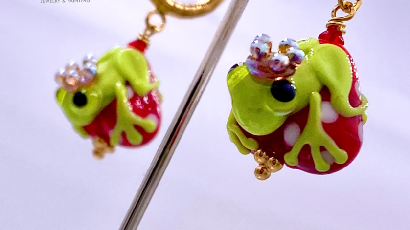Sterlingsilber Ohrringe Froschkönig aus Muranoglas, handgefertigt