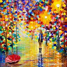 """Umbrella"", Öl auf Leinwand, Spachteltechnik, 70x80"