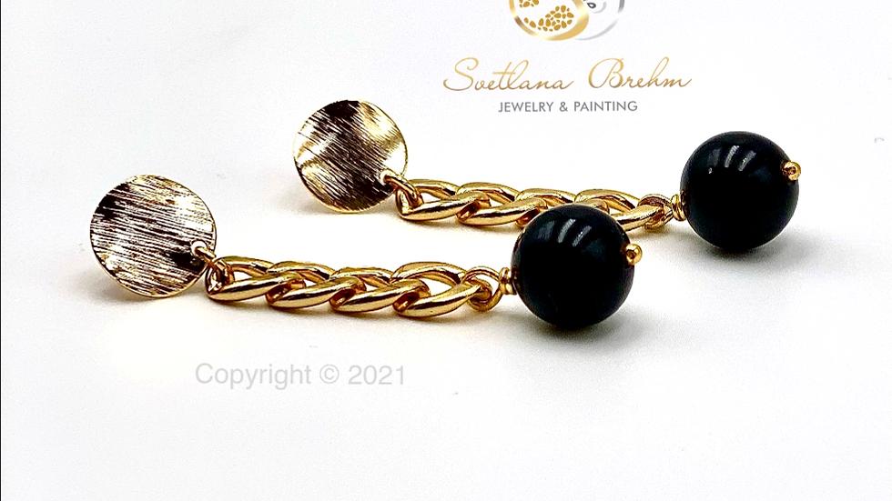 Designer Ohrringe mit schwarzem Onyx, handgefertigt