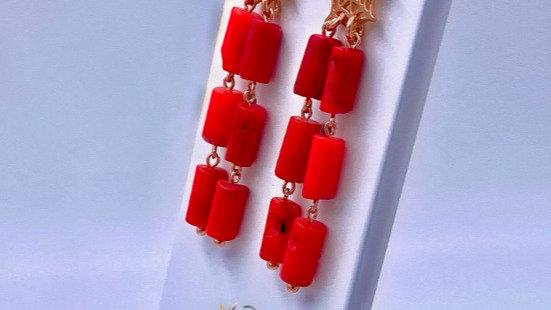 Sterlingsilber Ohrringe mit roten Korallen, handgefertigt