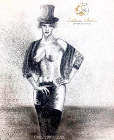 """""""Marlene"""", Zeichnung, Bleistift, Pastellkreide, 30x40"""