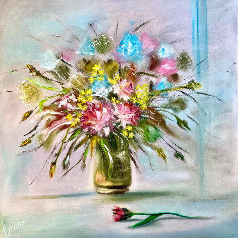 """I love flowers"", Öl auf Leinwand, Pinsel/Spachtel, 70x70"