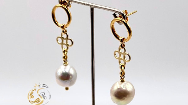 Sterlingsilber Ohrringe mit Mingperlen, handgefertigt