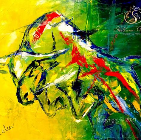 """Stier abstrakt"", Öl auf Leinwand, Spachteltechnik, 100x120"