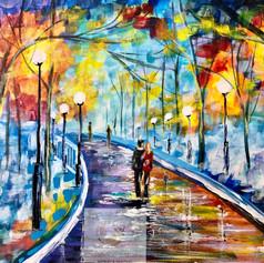 """""""Winter walk"""", Acryl auf Leinen, 24x32"""