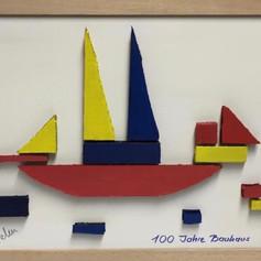 """BauhausArt"", Collage, Pappe, Leinwand, 30x40"
