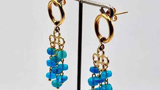 Sterlingsilber Ohrringe mit natürlichen Paraiba Opalen, handgefertigt