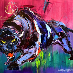 """Panther"", Öl auf Leinwand, Spachteltechnik, 70x100"