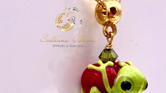 Sterlingsilber Halskette & Anhänger Frosch aus Muranoglas, handg