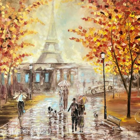 """""""Damals in Paris"""", Öl auf Leinwand, Spachteltechnik, 80x100"""