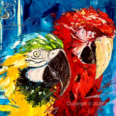 """Parrots"", Öl auf Leinwand, Spachteltechnik, 60x80"