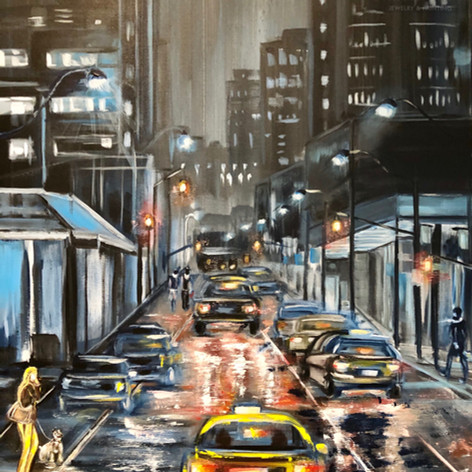 """Night city"", Acryl auf Leinwand, 60x80"