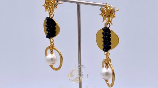 Sterlingsilber Ohrringe mit schwarzen Spinellen & Süßwasserperlen, handgefertigt