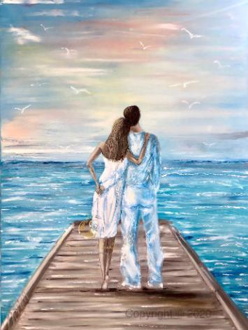 """""""Zwei Verliebte"""", Öl auf Leinwand, 70x100"""