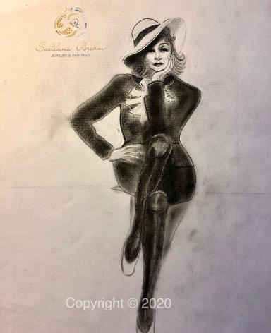 """""""Marlene I"""", Zeichnung, Bleistift, Pastellkreide, Acryl, 30x40"""