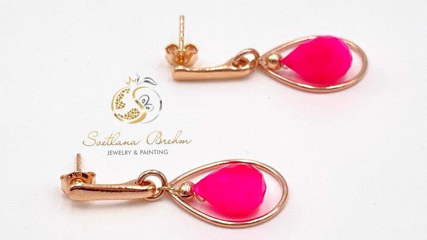 Sterlingsilber Ohrringe mit rosa Chalcedon, handgefertigt