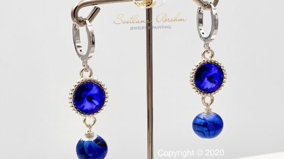 Sterlingsilber Ohrringe mit Swarovski® Kristallen & Perlen, handgefertigt