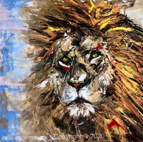"""Löwe"", Öl auf Leinwand, Spachteltechnik, 70x80"
