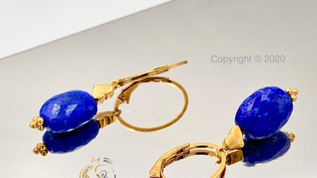 Sterlingsilber Ohrringe mit natürlichem Lapislazuli, handgefertigt