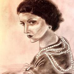 """""""Coco Chanel"""", Zeichnung, Bleistift, Pastellkreide, Acryl, 30x40"""