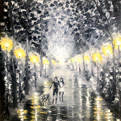 """Black&White Night"", Öl auf Leinwand, Spachteltechnik, 60x80"