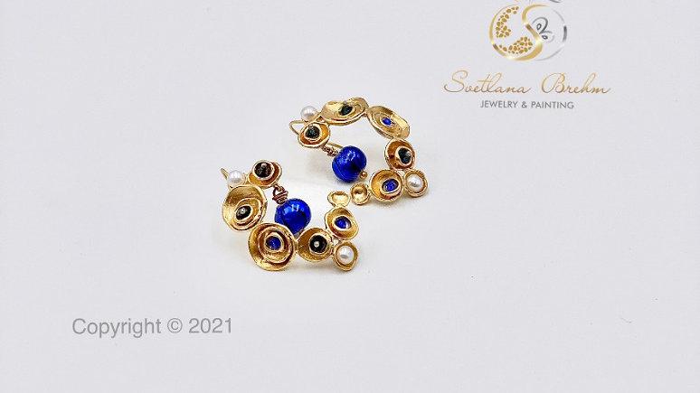 Designer Ohrringe mit Süßwasserperlen & Swarovski®  Kristallen, hangefertigt