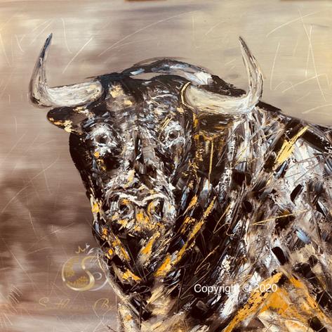 """Stier I"", Öl auf Leinwand, Pinsel/Spachtel, Vergoldung (24 KG), 70x70"