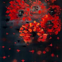 Abstrakte Kunst, Öl auf Leinwand, Spachteltechnik, 70x100