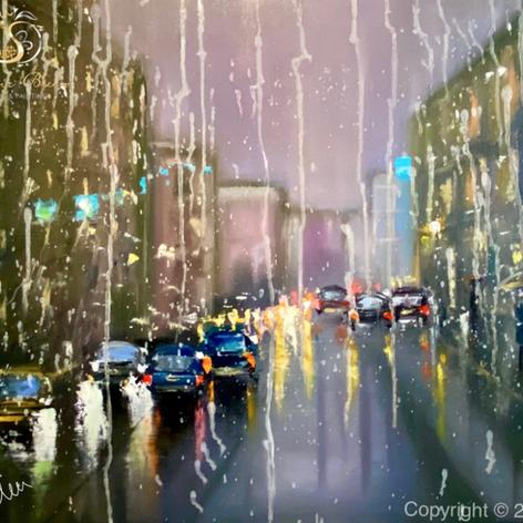 """""""Regen in der Stadt"""", Öl auf Leinwand, Spachtel,-/Pinsel,-/Fingertechnik, 50x60"""