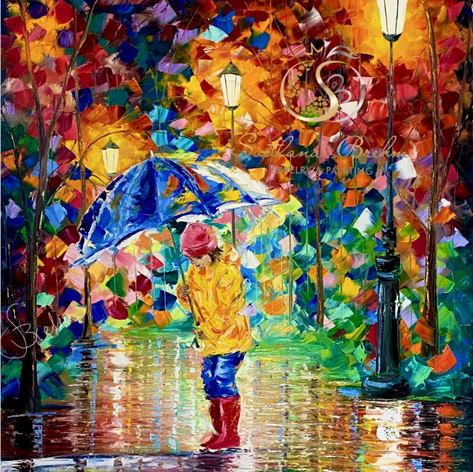 """Magic in the Rain"", Öl auf Leinwand, Spachteltechnik, 100x120"