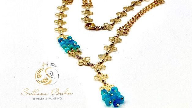 Designer Collier mit natürlichen Paraiba Opalen, handgefertigt