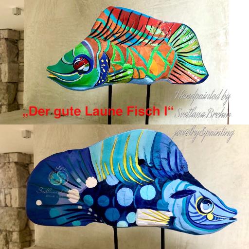 """Der gute Laune Fisch I"", Teakholz"